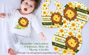 SUNFLOWER LION  (T-Shirt, Bib & Burpie Designs)