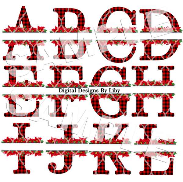POINSETTIA PLAID MONOGRAM ALPHABET SET - RED (Lettering for A thru Z)