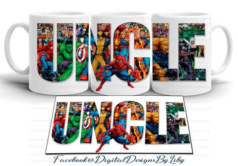 SUPER HERO UNCLE Mug Template