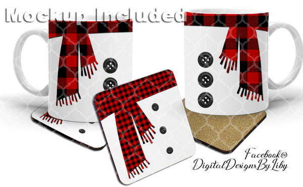 SNOWMAN IN PLAID (Mug, Coaster & Pillow Designs)