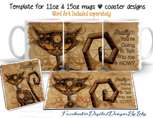 STEAMPUNK CAT COFFEE (Mug & Coaster Design+Bonus Mockups)