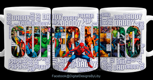 SUPER HERO Dad Mug Template
