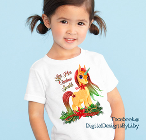 LITTLE MISS CHRISTMAS SPARKLE UNICORN (T-shirt, Onesie & Mug Design)