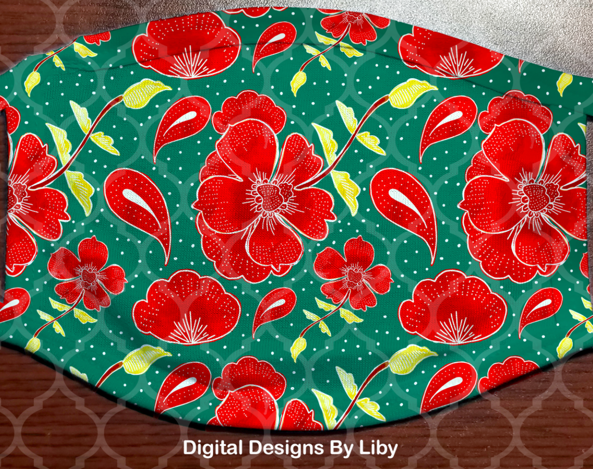 FLORAL POPPIES IN GREEN (Full & Center Designs)