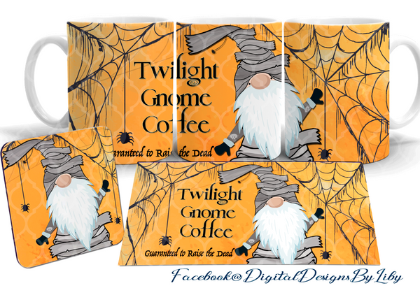 TWILIGHT GNOME (Mug & Coaster Design+Bonus Mockups)
