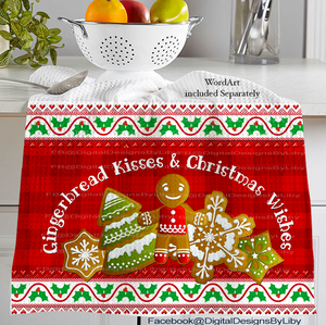 GINGERBREAD KISSES (2 Towel & Potholder Designs)