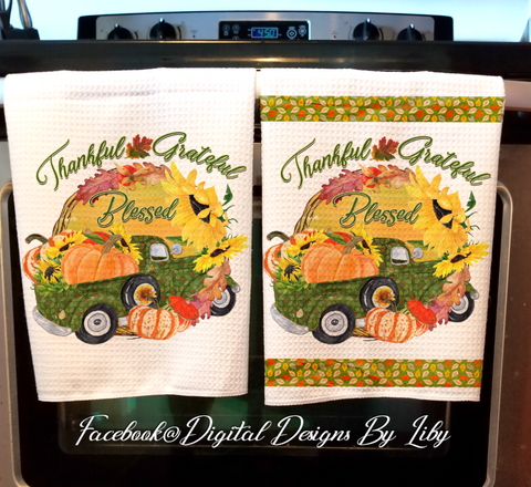 THANKFUL GRATEFUL BLESSED (Towel & Potholder Designs)