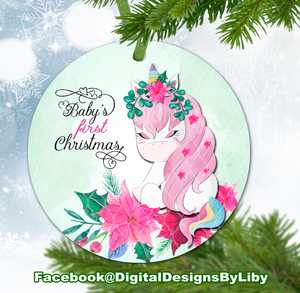 Unicorn Baby's First Christmas Ornament (Plus  FREE BONUS Mockup)