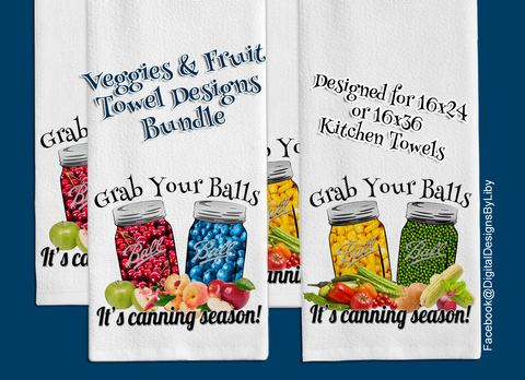 Grab Your Balls 2-piece designs Towel Set (Veggies & Fruits)