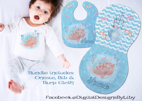 LITTLE FLOWER WHALE  (T-Shirt, Bib & Burpie Designs)