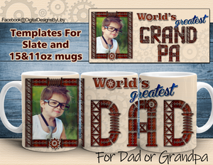 World's Greatest Dad & Grandpa Mug & Slate Design2