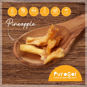Sun Dried Cubed Pineapple by PuroSol (217 gr.)-healthy snacks sun-dried in Guatemala, dehydrated fruits and herbs for all of your culinary creations