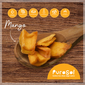 Sun Dried Cubed Mango by PuroSol (217 gr.)-healthy snacks sun-dried in Guatemala, dehydrated fruits and herbs for all of your culinary creations