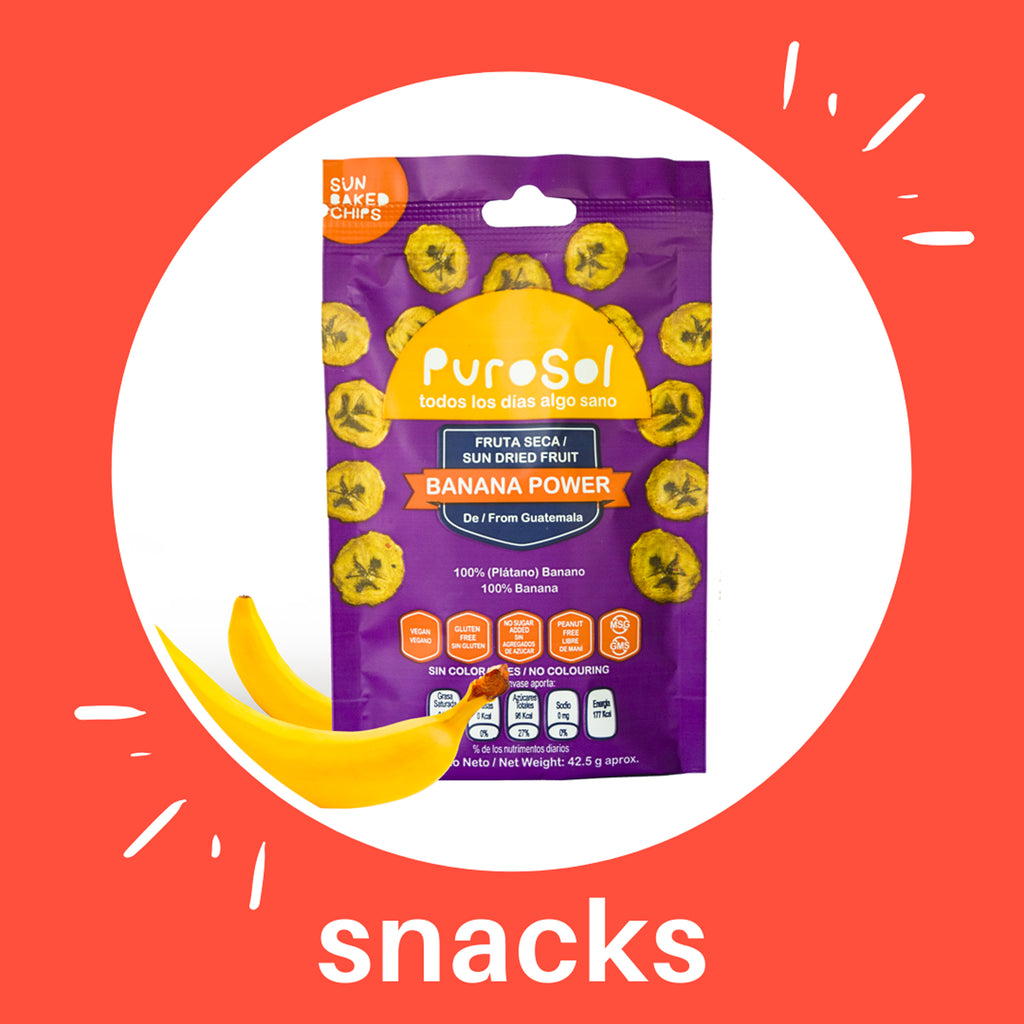 Sun Dried Banana Power Snacks by PuroSol (42.5 gr.)-healthy snacks sun-dried in Guatemala, dehydrated fruits and herbs for all of your culinary creations