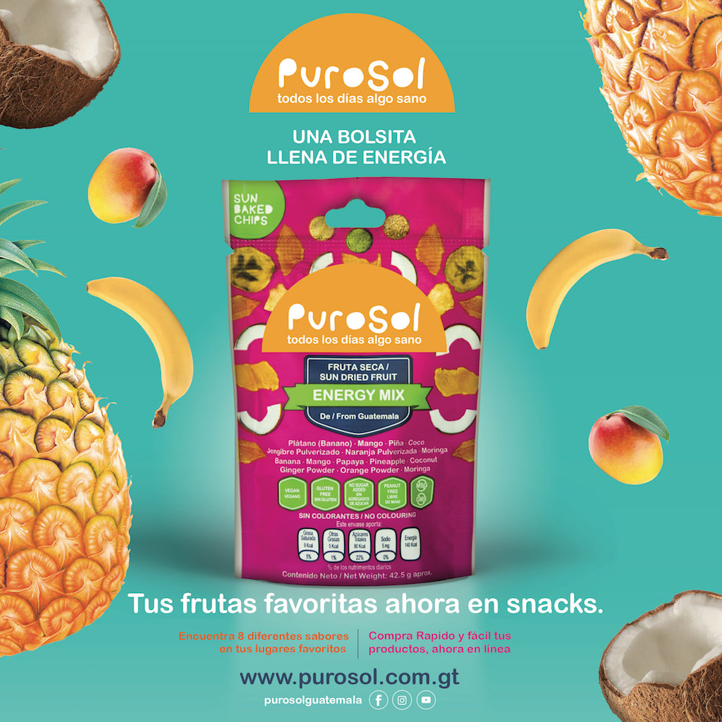 Wholesale Energy Mix from PuroSol (Box of 4.5 Kgs)-healthy snacks sun-dried in Guatemala, dehydrated fruits and herbs for all of your culinary creations