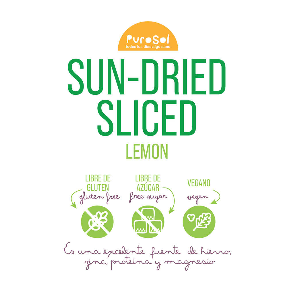Sun Dried Sliced Lemon by PuroSol (217 gr.)-healthy snacks sun-dried in Guatemala, dehydrated fruits and herbs for all of your culinary creations