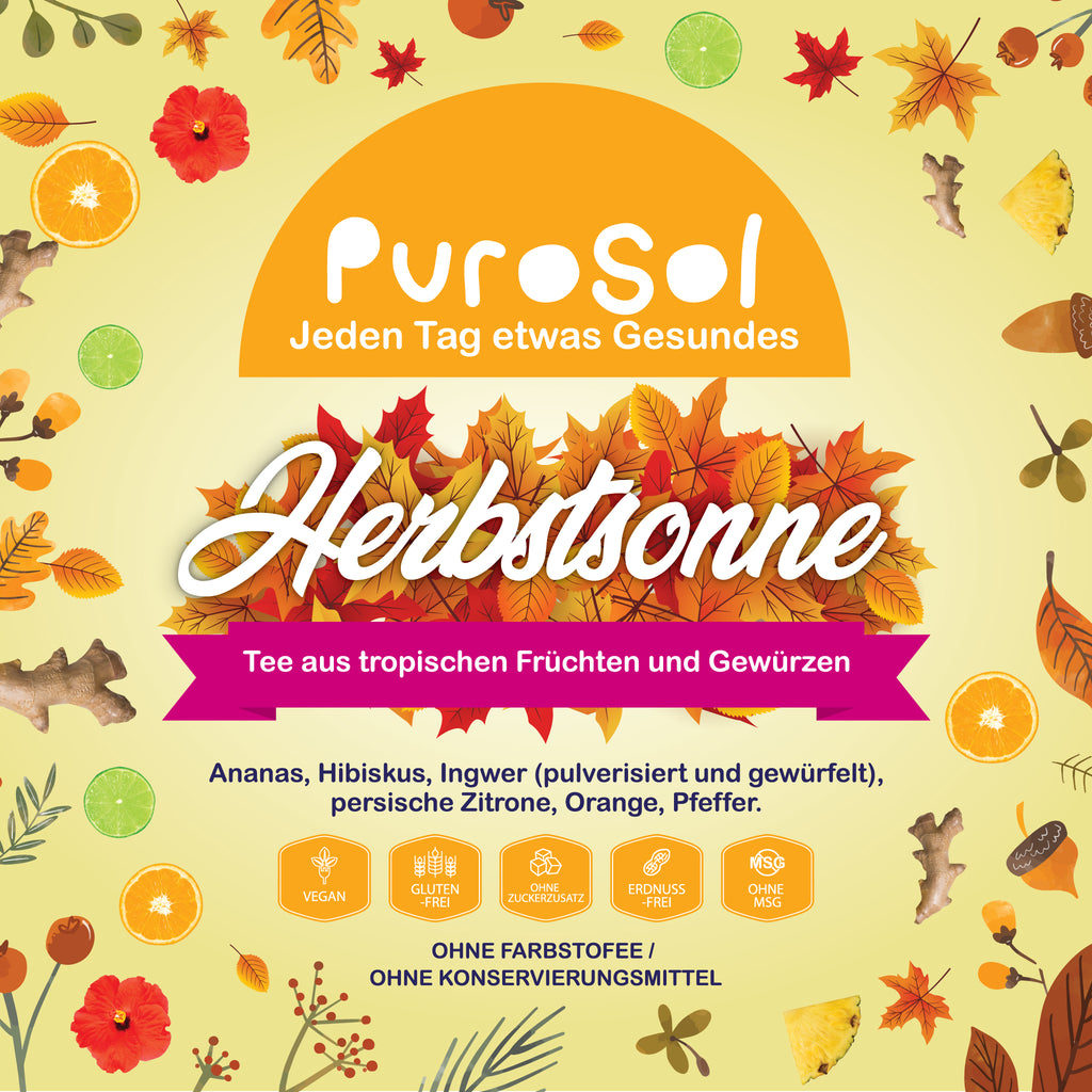 Herbstsonne Infusion by PuroSol-healthy snacks sun-dried in Guatemala, dehydrated fruits and herbs for all of your culinary creations