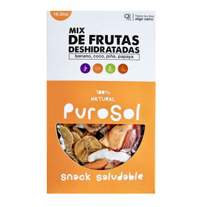 Box of Mixed Fruits by PuroSol Snacks (453.60 gr.) (12 units per box)-healthy snacks sun-dried in Guatemala, dehydrated fruits and herbs for all of your culinary creations