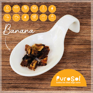 Sun Dried Cubed Banana by PuroSol (217 gr.)-healthy snacks sun-dried in Guatemala, dehydrated fruits and herbs for all of your culinary creations