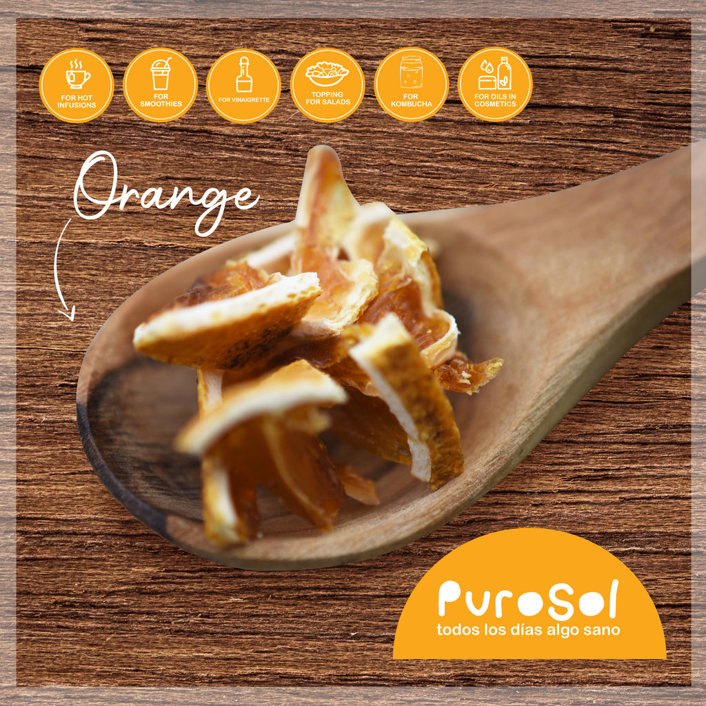 Sun Dried Cubed Orange by PuroSol (217 gr.)-healthy snacks sun-dried in Guatemala, dehydrated fruits and herbs for all of your culinary creations