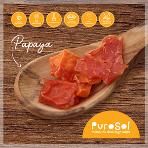 Sun Dried Cubed Papaya by PuroSol (217 gr.)-healthy snacks sun-dried in Guatemala, dehydrated fruits and herbs for all of your culinary creations