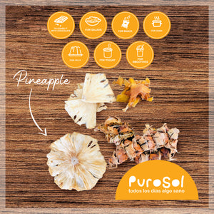 Sun Dried Sliced Pineapple with Peel by PuroSol (217 gr.)-healthy snacks sun-dried in Guatemala, dehydrated fruits and herbs for all of your culinary creations