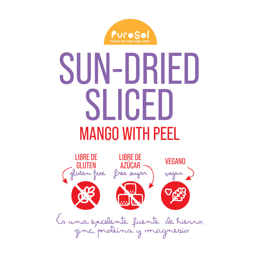 Sun Dried Sliced Mango with Peel by PuroSol (217 gr.)-healthy snacks sun-dried in Guatemala, dehydrated fruits and herbs for all of your culinary creations