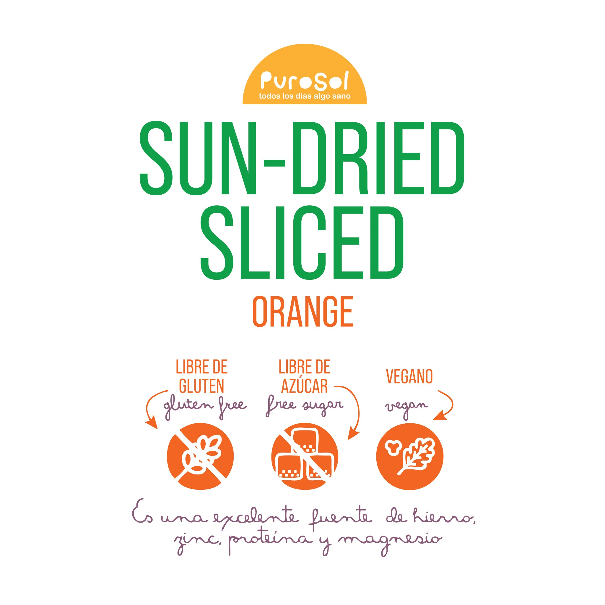 Sun Dried Sliced Orange by PuroSol (217 gr.)-healthy snacks sun-dried in Guatemala, dehydrated fruits and herbs for all of your culinary creations