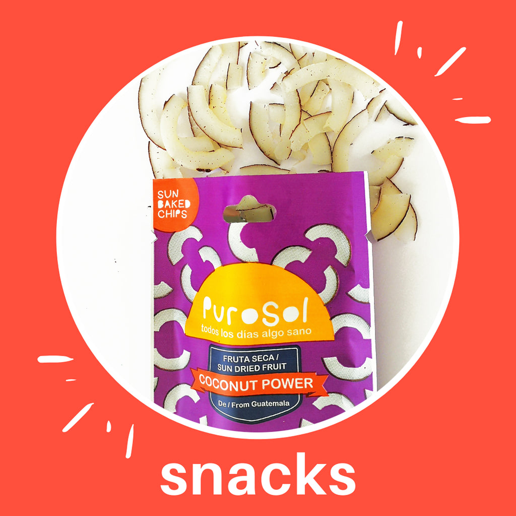 Sun Dried Coconut Power Snacks by PuroSol Snacks (42.5 gr)-healthy snacks sun-dried in Guatemala, dehydrated fruits and herbs for all of your culinary creations