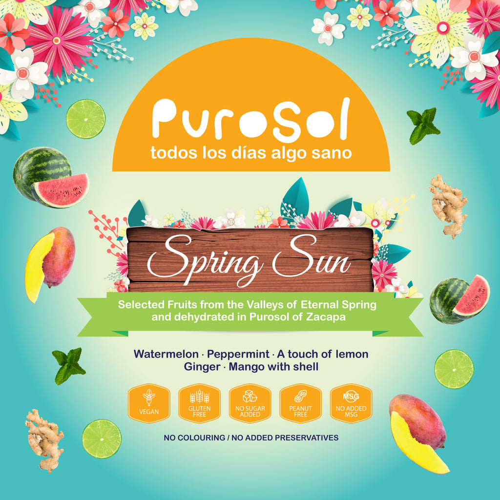 Spring Sun Infusion by PuroSol-healthy snacks sun-dried in Guatemala, dehydrated fruits and herbs for all of your culinary creations