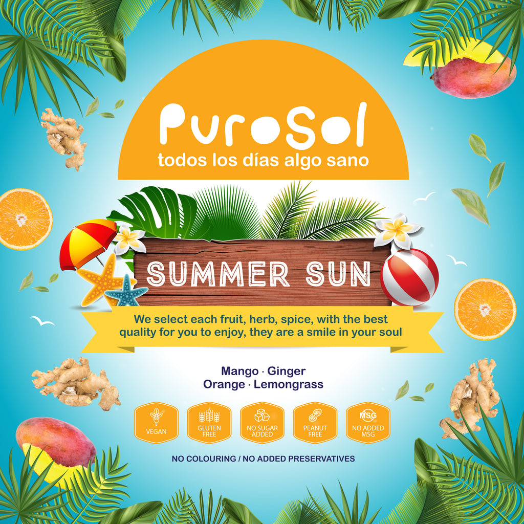 Summer Sun Infusion by PuroSol-healthy snacks sun-dried in Guatemala, dehydrated fruits and herbs for all of your culinary creations