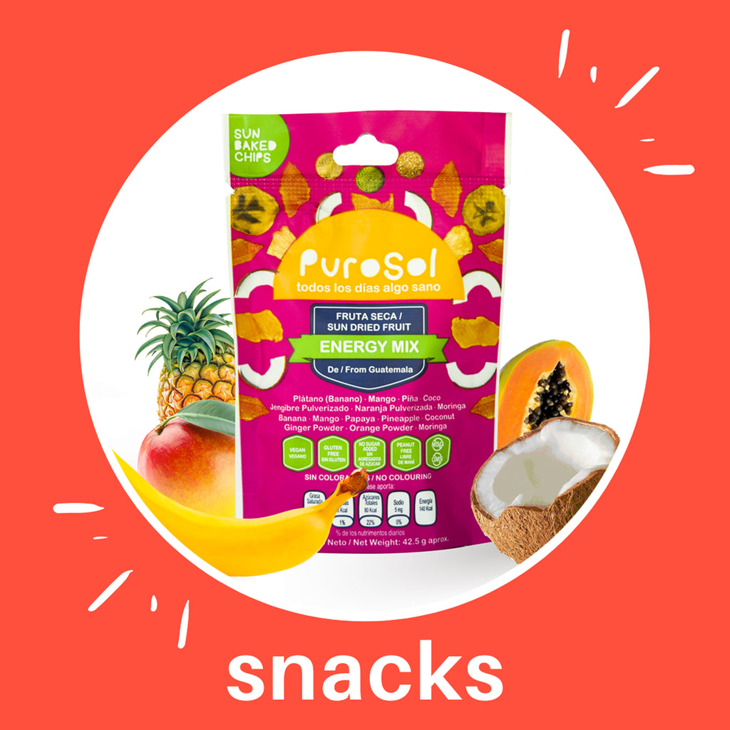 Sun Dried Energy Mix Snacks by PuroSol Snacks (42.5 gr.)-healthy snacks sun-dried in Guatemala, dehydrated fruits and herbs for all of your culinary creations
