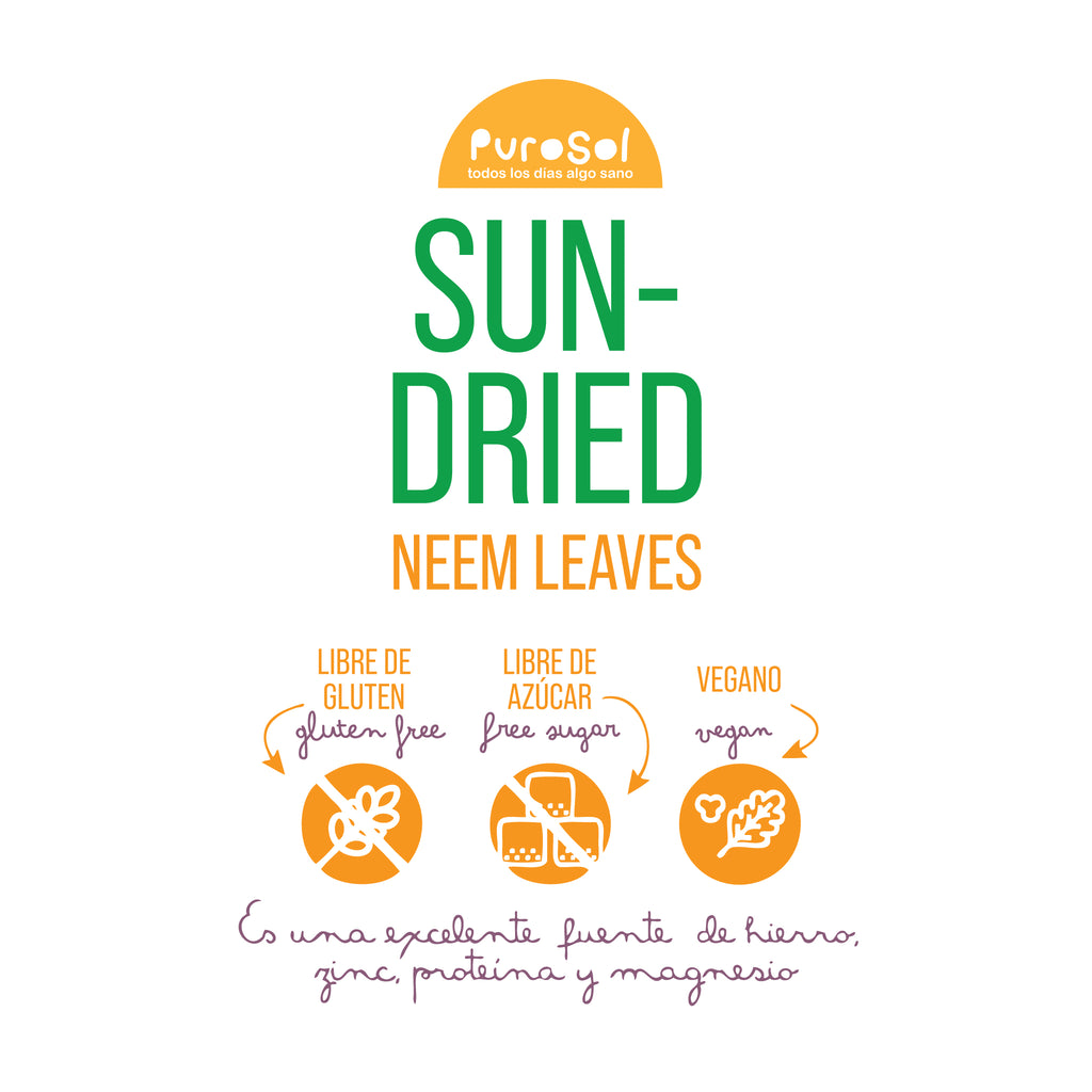 Sun Dried Neem Leaves (217. gr) by PuroSol-healthy snacks sun-dried in Guatemala, dehydrated fruits and herbs for all of your culinary creations