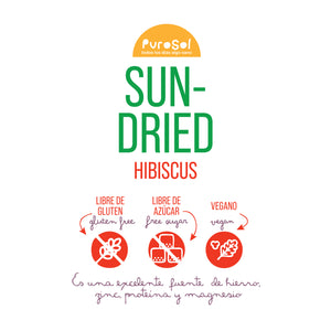 Sun Dried Hibiscus (217 gr.) by PuroSol-healthy snacks sun-dried in Guatemala, dehydrated fruits and herbs for all of your culinary creations