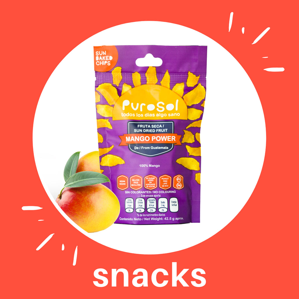 Sun Dried Mango Power Snacks by PuroSol Snacks (42.5 gr.)-healthy snacks sun-dried in Guatemala, dehydrated fruits and herbs for all of your culinary creations