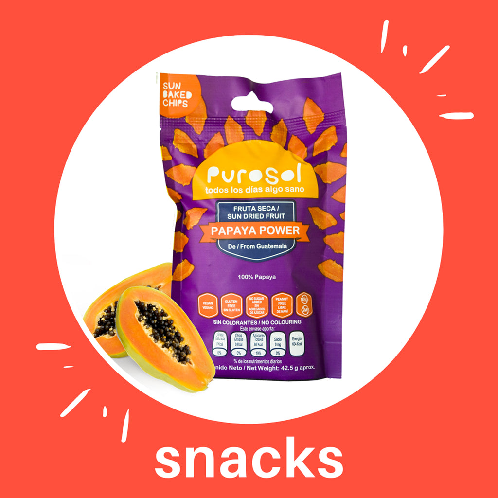 Sun Dried Papaya Power Snacks by PuroSol Snacks (42.5 gr)-healthy snacks sun-dried in Guatemala, dehydrated fruits and herbs for all of your culinary creations