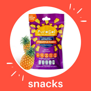 Sun Dried Pineapple Power Snacks by PuroSol Snacks (42.5 gr.)-healthy snacks sun-dried in Guatemala, dehydrated fruits and herbs for all of your culinary creations
