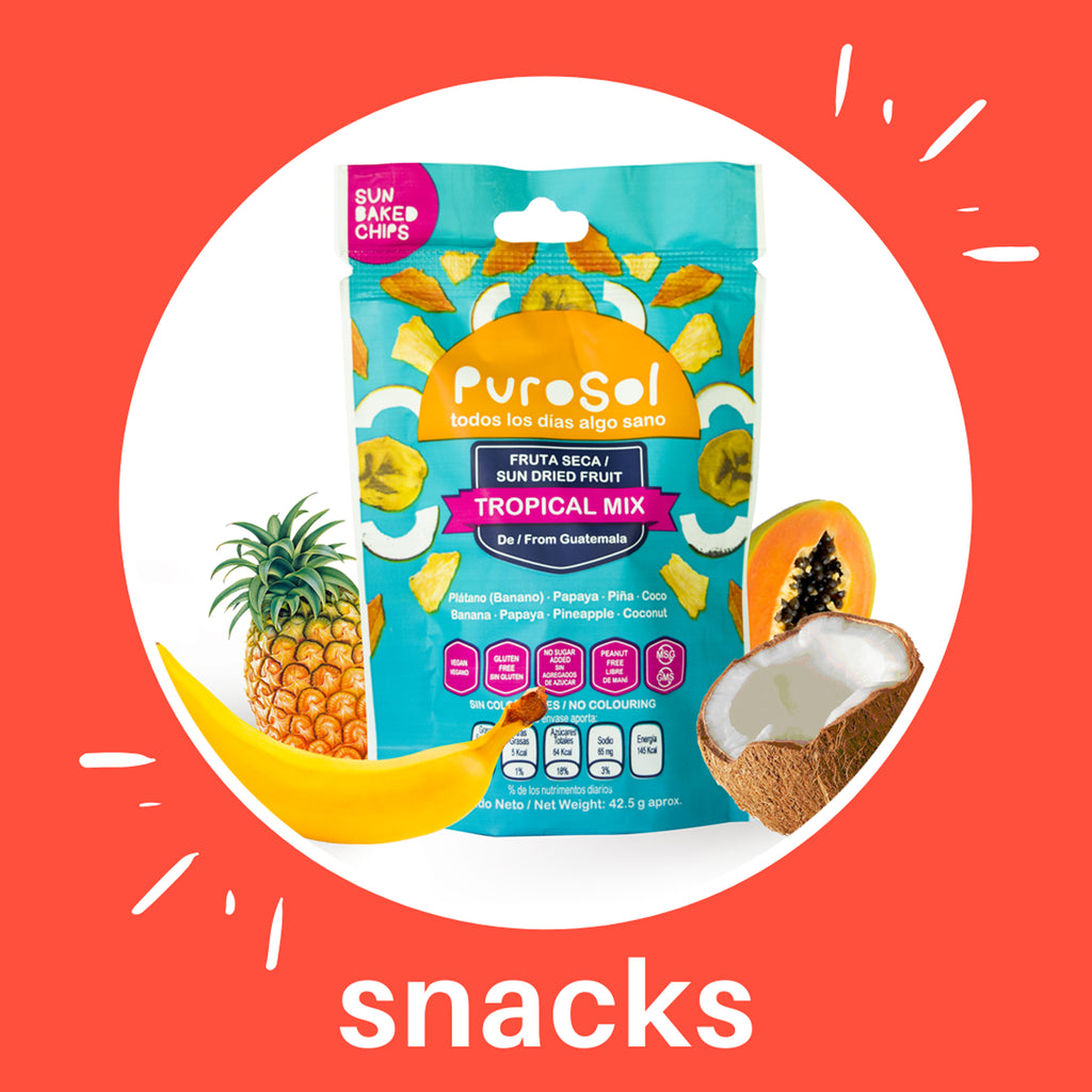 Sun Dried Tropical Mix Snacks by PuroSol Snacks (42.5)-healthy snacks sun-dried in Guatemala, dehydrated fruits and herbs for all of your culinary creations