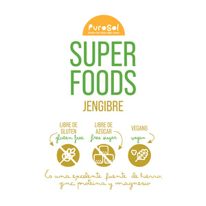 SuperFood Pulverized Sun Dried Ginger (217 gr.)-healthy snacks sun-dried in Guatemala, dehydrated fruits and herbs for all of your culinary creations