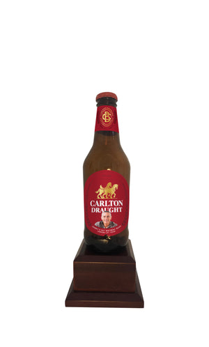 CARLTON DRAUGHT Bottle on Pedestal with PERSONALISED LABEL