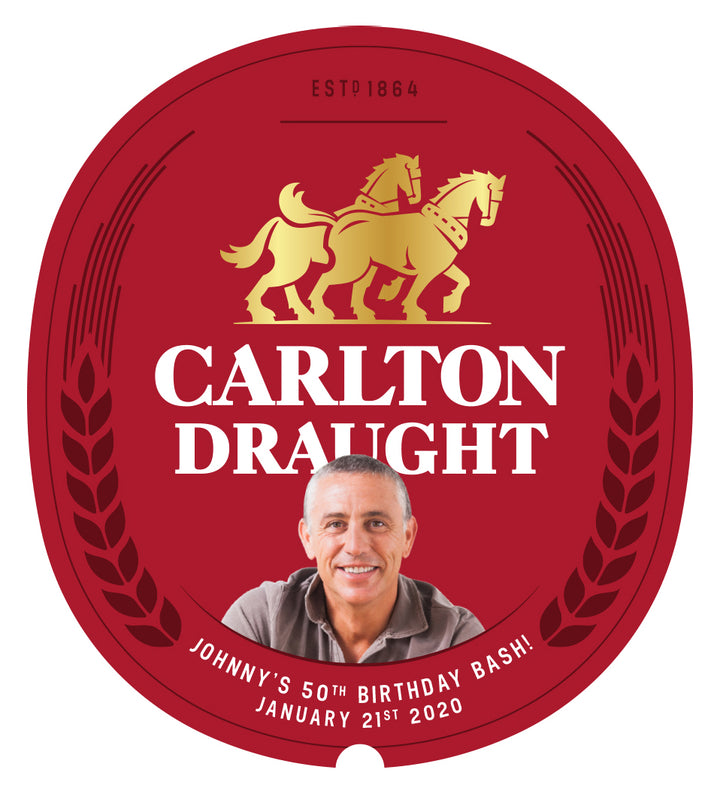 CARLTON DRAUGHT 24 x  375ml Stubby labels with PICTURE AND/OR TEXT