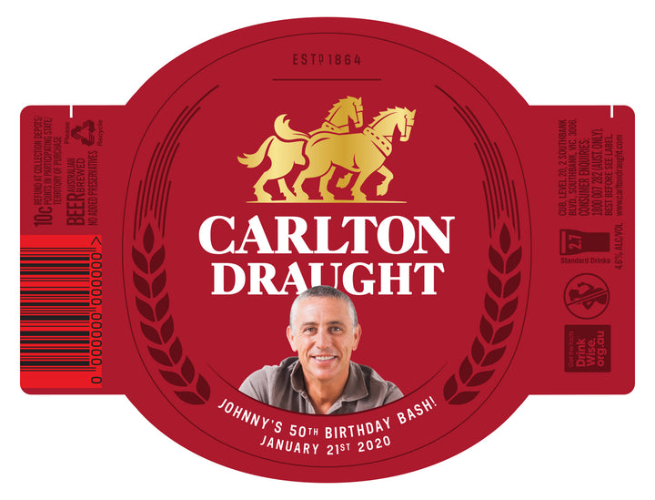 CARLTON DRAUGHT 6 x 750ml Longneck labels with PICTURE AND/OR TEXT