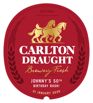 CARLTON DRAUGHT 6 x 375ml Stubby labels with PICTURE AND/OR TEXT