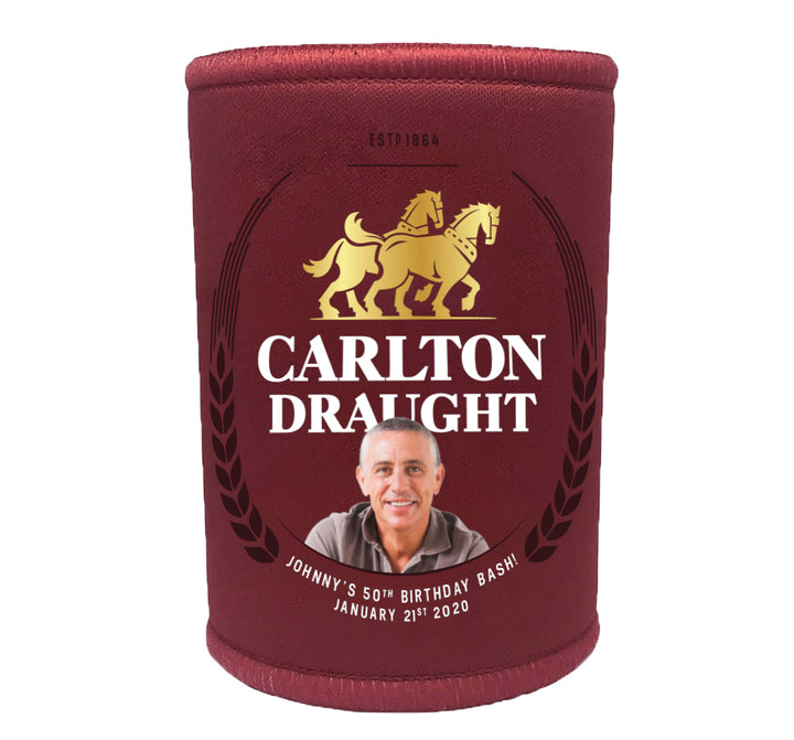CARLTON DRAUGHT 6 x Personalised Stubby Holders with PICTURE and/or TEXT (Discounts for multiples)