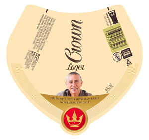 CROWN LAGER 6 x 375ml metallic Stubby labels with PICTURE AND/OR TEXT