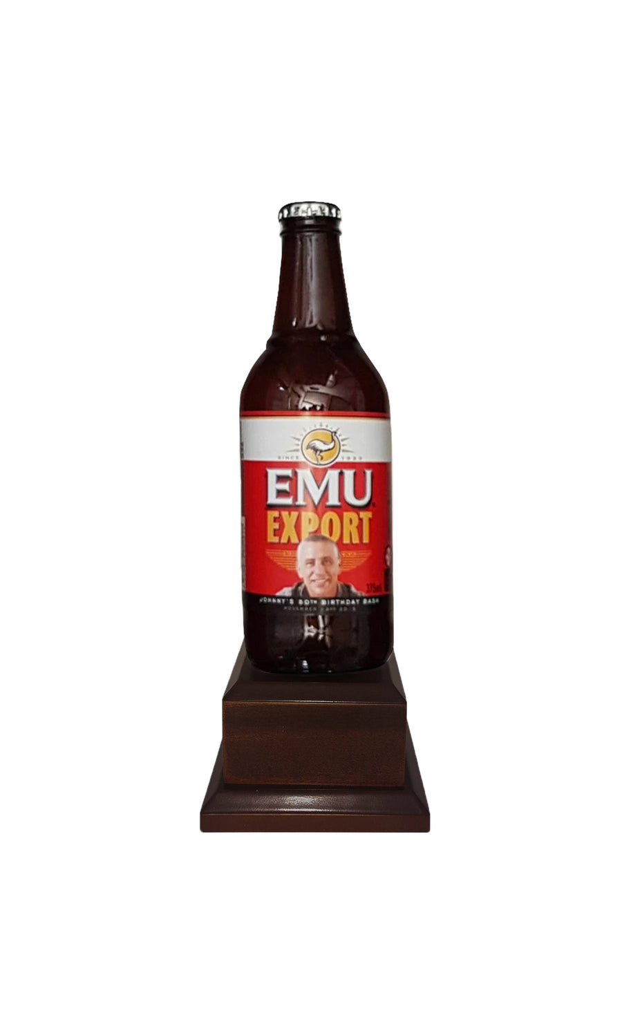 EMU EXPORT Bottle on Pedestal with PERSONALISED LABEL