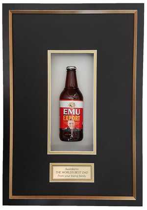 EMU EXPORT Deluxe Framed Beer bottle with Engraving (50cm x 34cm)-My Brand And Me