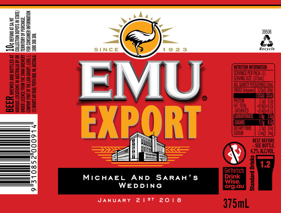 EMU EXPORT 6 x 375ml Stubby labels with PICTURE AND/OR TEXT