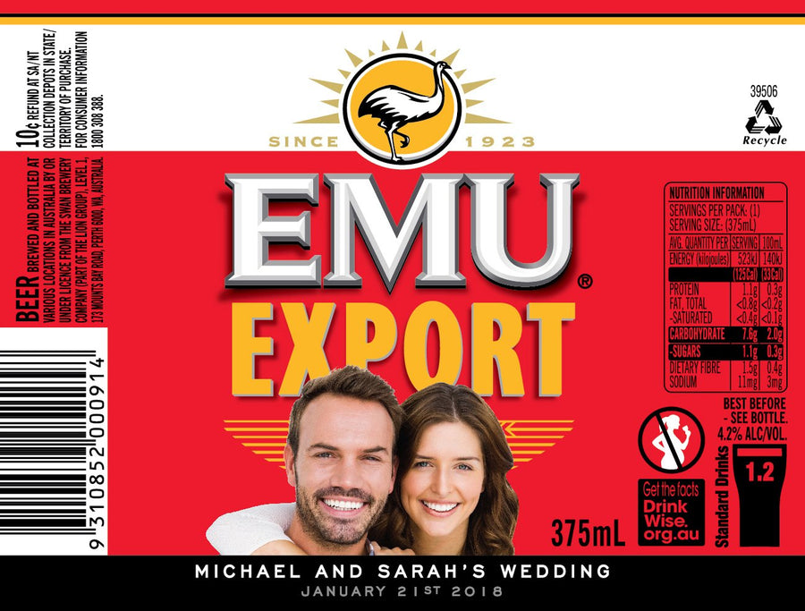 EMU EXPORT 24 x 375ml Stubby labels with PICTURE & TEXT-My Brand And Me