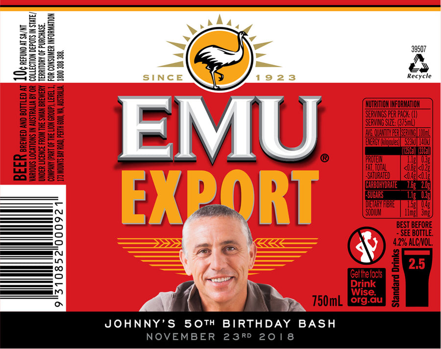 EMU EXPORT 6 x 750ml Longneck labels with PICTURE AND/OR TEXT